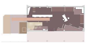Showroom Benuzzi. Pianta piano terra. Sala espositiva ed accesso al piano primo.