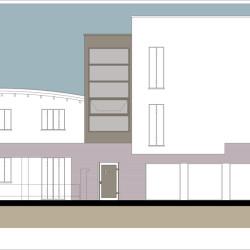 Casa M10 Prospetto fronte strada. Lato nord.
