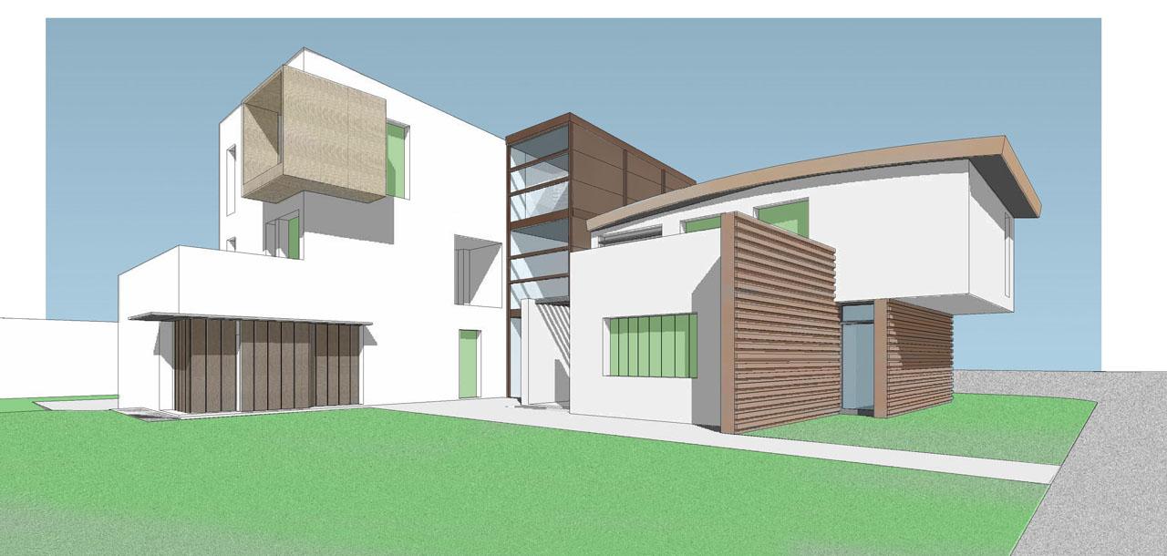 Casa M10 Prospettiva renderizzata. Vista dal giardino interno privato.