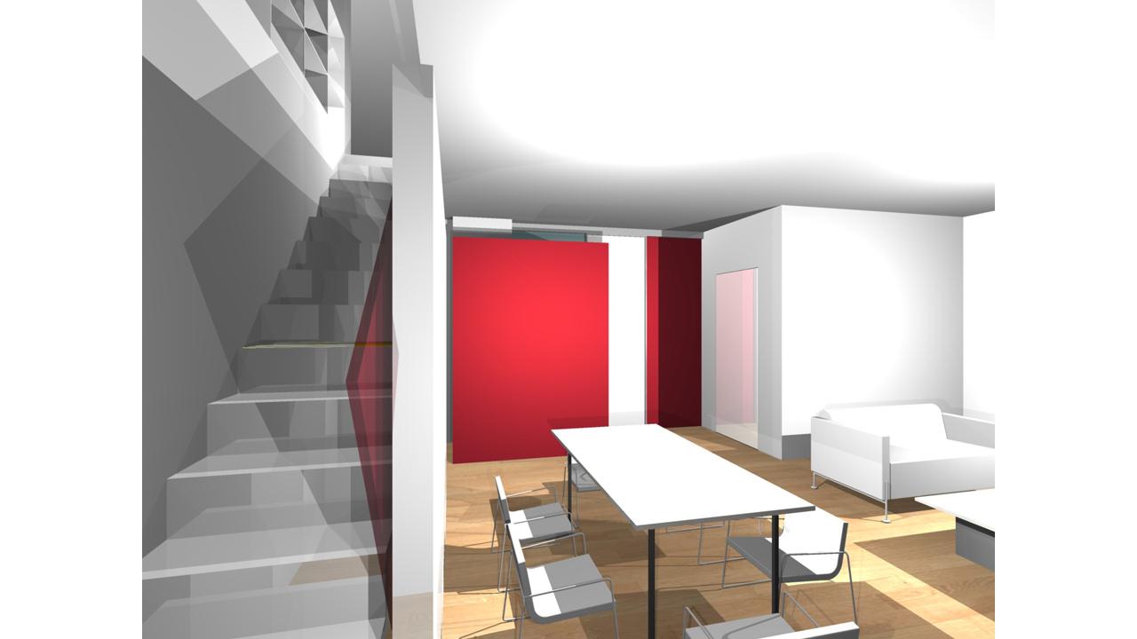 Casa P13-Rendering realizzato Soggiorno vista scala