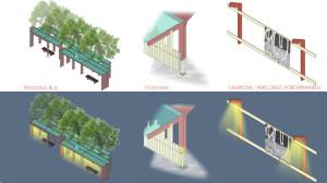 Concorso ALT-Stazione San Giovanni in Persiceto Elementi di Arredo Urbano - Pensiline , rastrelliere per biciclette, fontana, recinzioni porta-pannelli con segnapassi illuminante.
