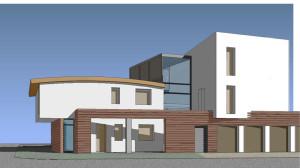 Casa M10 Prospettiva renderizzata. Vista dall'incrocio stradale.