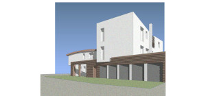 Casa M10 Prospettiva renderizzata lato garages