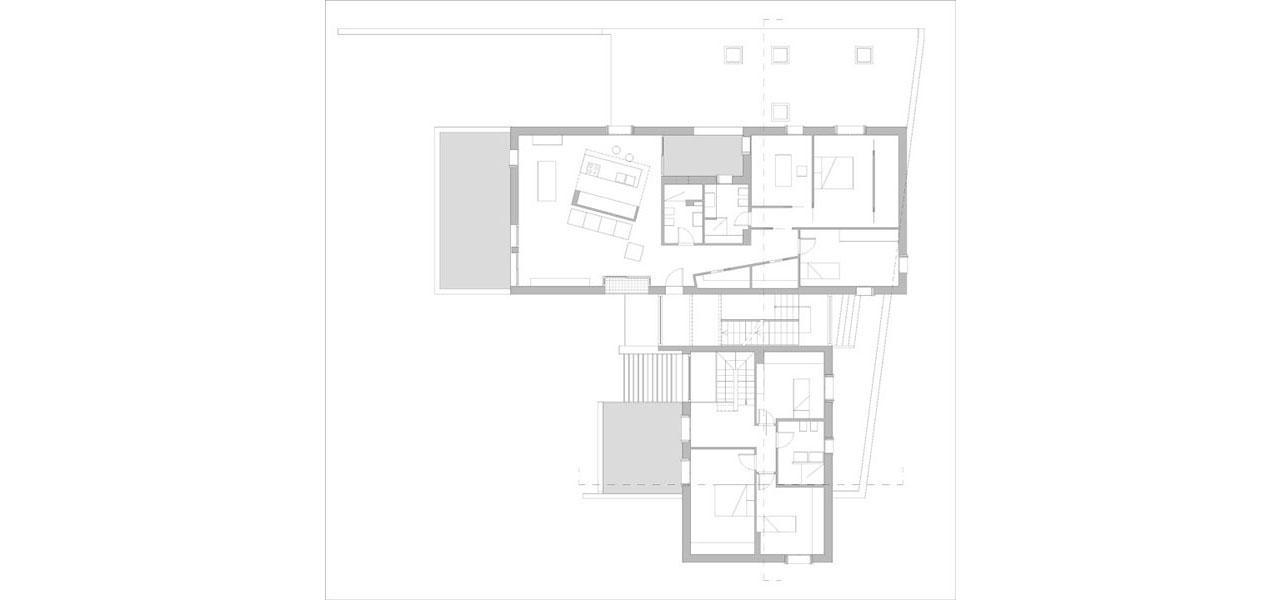 Casa M10 Planimetria del piano primo. Alloggio con terrazzo e loggia e zona notte della villetta.