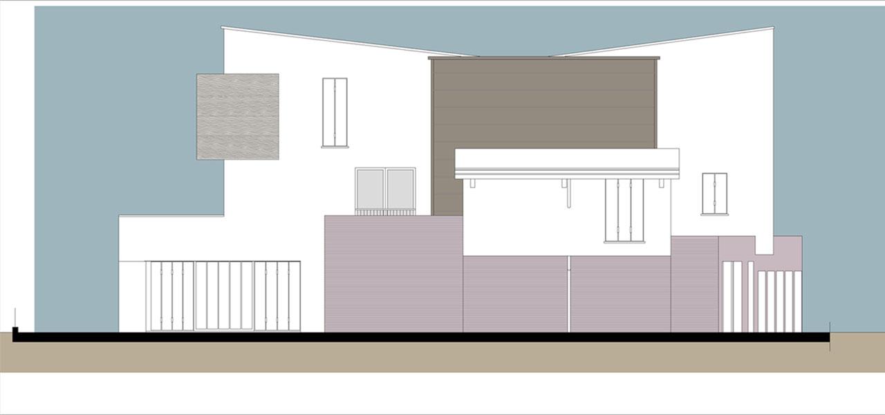 Casa M10 Prospetto fronte strada. Lato est.