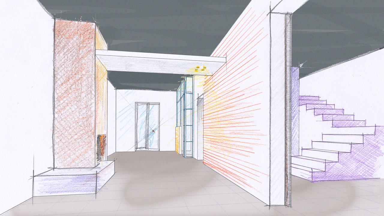Casa B04 Schizzo progettuale del soggiorno